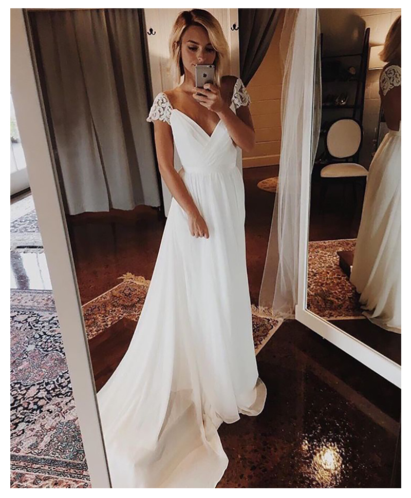 Cap Sleeves Wedding Dress 2019 V Neck  Chiffon Appliques Backless Beach Bridal Dress Cheap High Quality Wedding Gowns