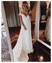 цена на Cap Sleeves Wedding Dress 2019 V Neck  Chiffon Appliques Backless Beach Bridal Dress Cheap High quality Wedding Gowns