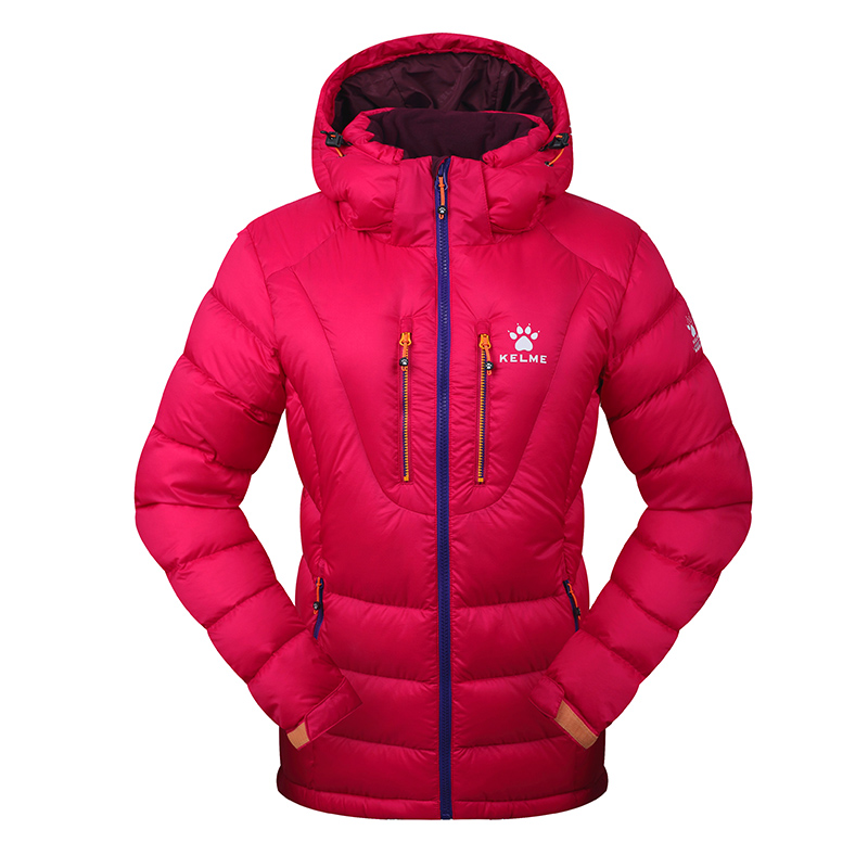 Kelme K46C5028 Women Long Sleeve Hooded Windproof Keep Warm Cotton Outdoor Sport Medium-long Down Jacket Rose