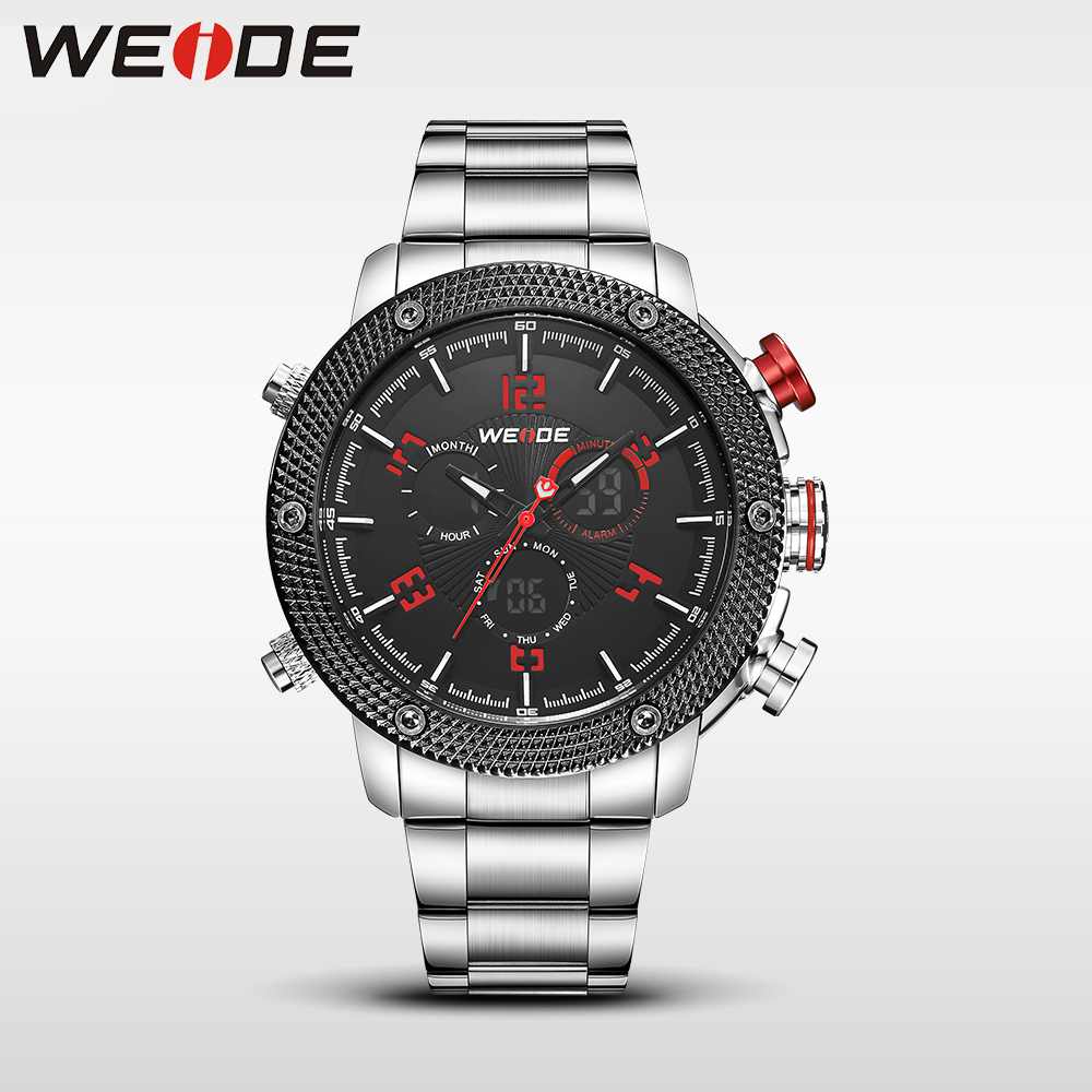 WEIDE Casual genuin Watch Men Quartz Digital Date Alarm Waterproof Clock  Masculino Relojes Double display watch stainless steel weide 2017 new men quartz casual watch army military sports watch waterproof back light alarm men watches alarm clock berloques