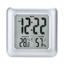 New European electronic digital waterproof wall clock hygrometer temperature and humidity square LCD display for bathroom