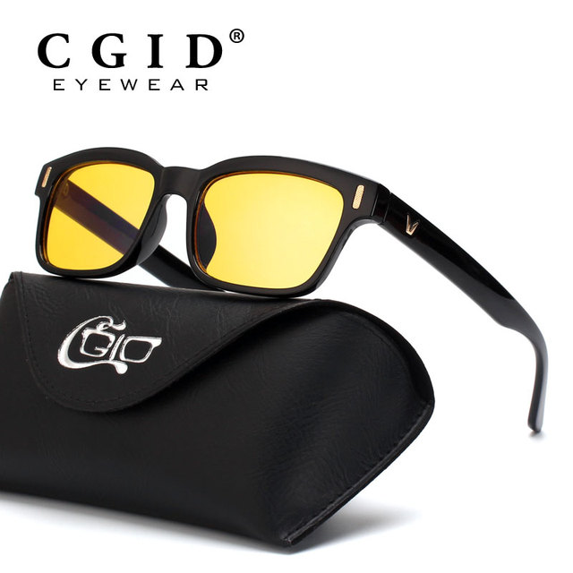 5a60bdc52e23 CGID Unisex Anti Blue light Computer Glasses 100% UV Protection Radiation  Protection Square Frame Yellow lens CY84