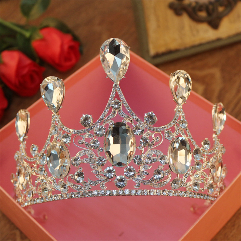 цена на Gorgeous Sparkling Big Crystal Wedding Crown Headband Bridal Tiara Party Show Pageant Gold Silver Plated Hair Accessories Gifts