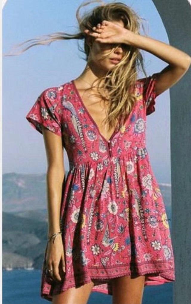 Women vacation peacock printing mini dress V collar printing short dress sweet boho beach dress sexy summer dress vestidos mujer