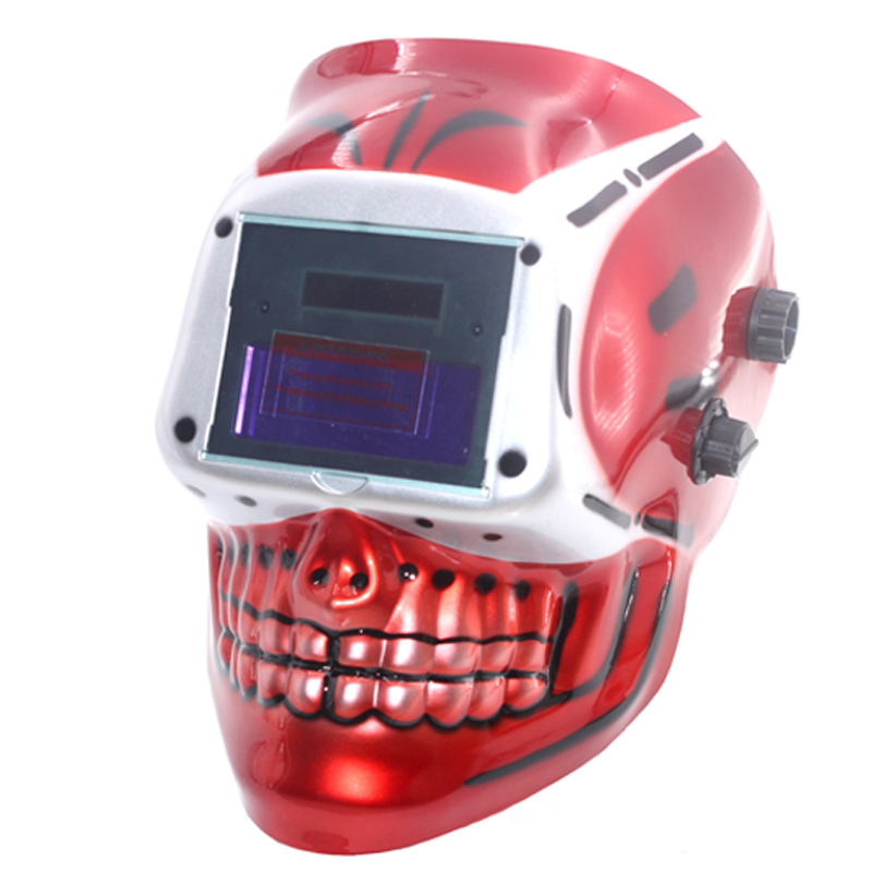 NEW SKULL AAA battery+Solar automatic/auto darkening TIG MIG MMA welding mask/helmets face mask welder goggles/protection Cap din7 din12 shading area solar auto darkening welding helmet protection face mask welder cap for zx7 tig mig welding machine