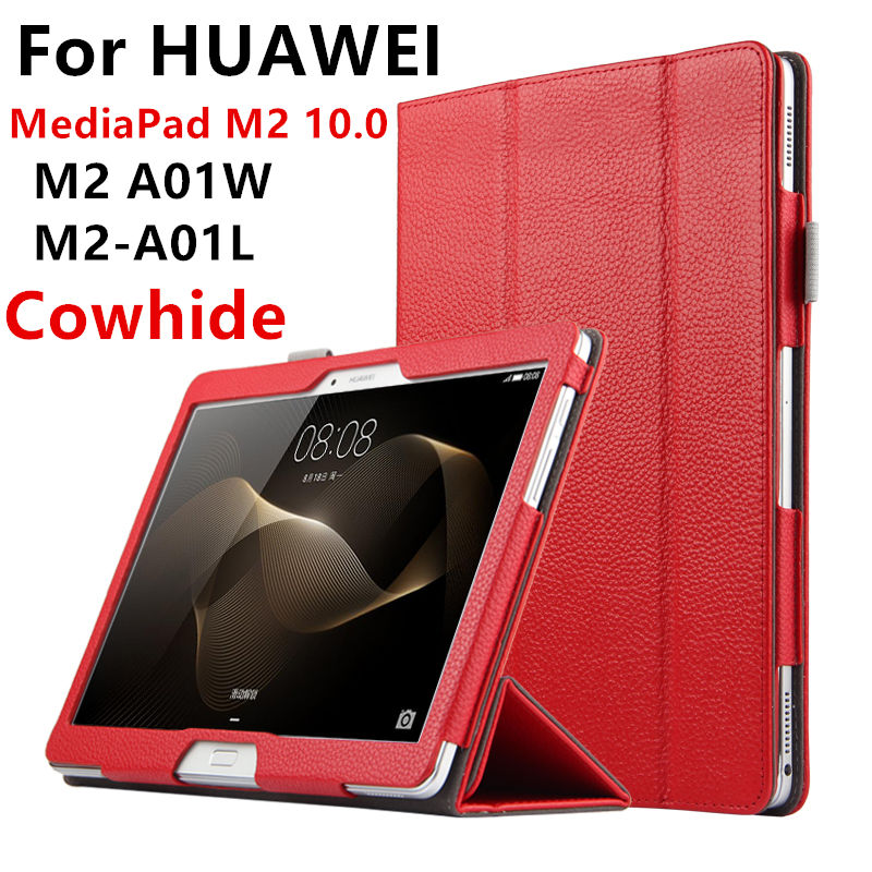 Case Cowhide For Huawei Mediapad M2 10.0 Genuine Protective Smart Cover Leather Tablet For HUAWEI Mediapad M2-A01L/W Protector