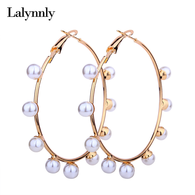 Lalynnly 2018 Circle Imitation Pearl Earring Gold Metal Round Earrings For Women Wedding Gifts