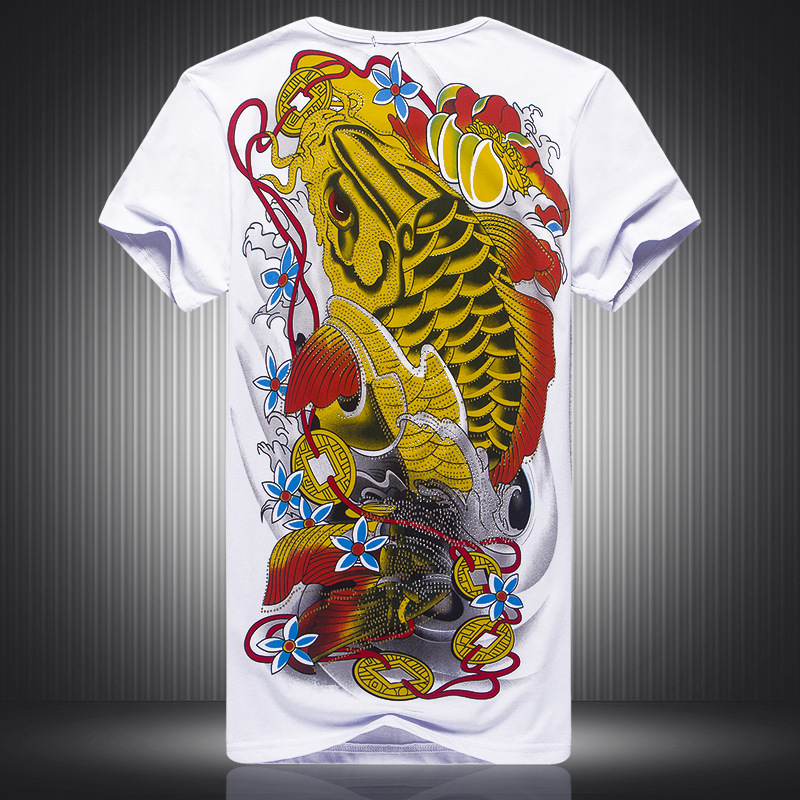 morality mens summer new fancy short sleeve T-shirt personality on the back of the big fish patterned curlicue T-shirt