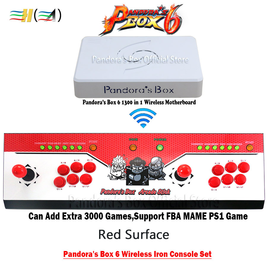Pandora Box 6 1300 in 1 wireless Iron console set 2 players joystick buttons controller can add 3000 games fba mame ps1 3d game