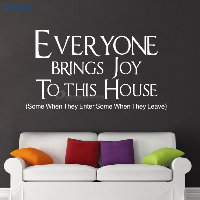 Každý přináší radost do tohoto domu Nástěnná samolepka Citáty Umění Domov Dekor Vinylová Kutilství Nástěnná Nálepka Nástěnná Nálepka Obývací pokoj W-11