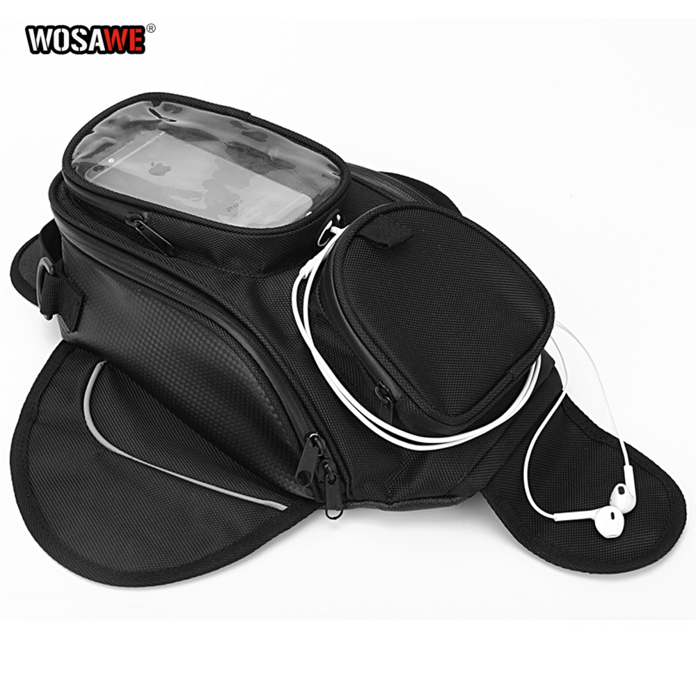 WOSAWE Motorcycle Tank Bags Magnetic Cell Phone GPS Navigation oil Tank Bag Fixed Straps Shoulder Bag Tail Bag With Rain Cover-in Tank Bags from Automobiles & Motorcycles