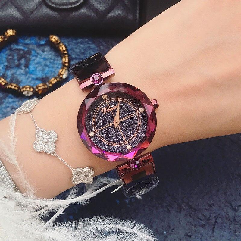 все цены на 2018 Lady Wrist Woman Watch Starry Sky Crystal Clock Luxury Brand Zegarek Damski Female Ladies Women Watch Relogio Feminino New онлайн
