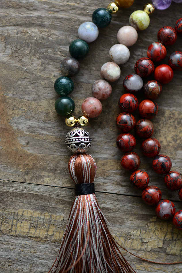 7 collar de Chakra único 8 MM Piedra Natural tibetana encanto borla suave collar mujeres cuentas Mala collares Dropshipping