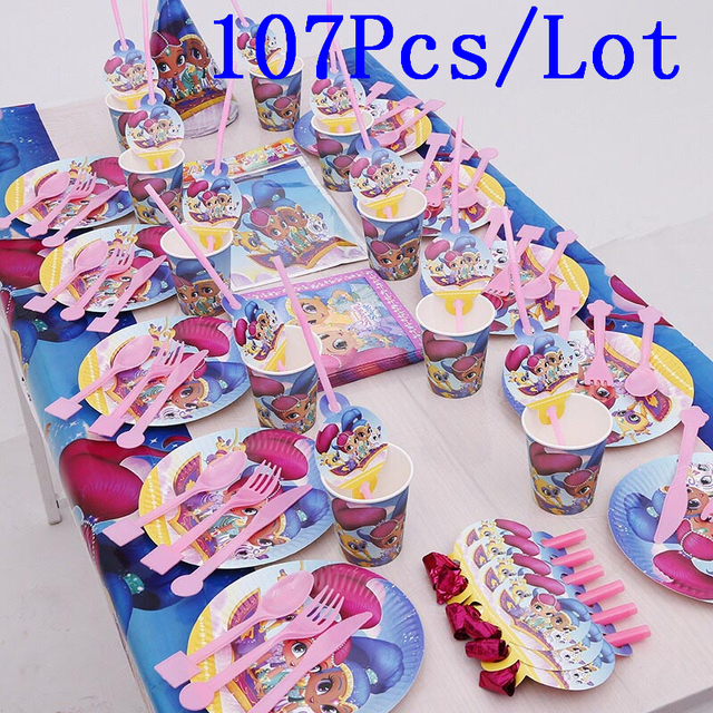 Shimmer And Shine Theme 107pcs Cup Plate Napkin Cap Baby Shower Horn