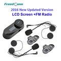 Frete grátis!! TCOM-SC W/Tela BT Bluetooth Capacete Da Motocicleta Intercom Headset com Rádio FM + Fone de Ouvido Livre + suporte