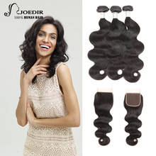 Joedir Indian Human Hair Bundles Med Closure Non Remy Body Wave 3 Bundles With Closed Tissage Bresiliens Avec Closure