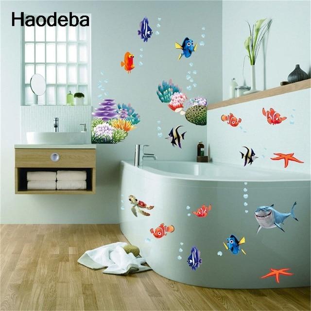 Sea World Colorful Fish Animals Vinyl Wall Art Window Bathroom Decoration Stickers Decal Baby Kids
