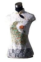 White New Chinese Women S Lace Embroider Shirt Top Peafowl S M L XL XXL XXXL