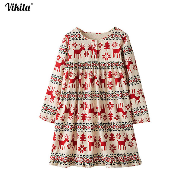 14dbc62f5 VIKITA 2018 Long Sleeve Girls Dress Baby Girl Deer Dress Cartoon ...