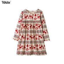 VIKITA 2018 Long Sleeve Girls Dress Baby Girl Deer Dress Cartoon Autumn Dresses Children Clothing Kids Christmas Clothes MS0381