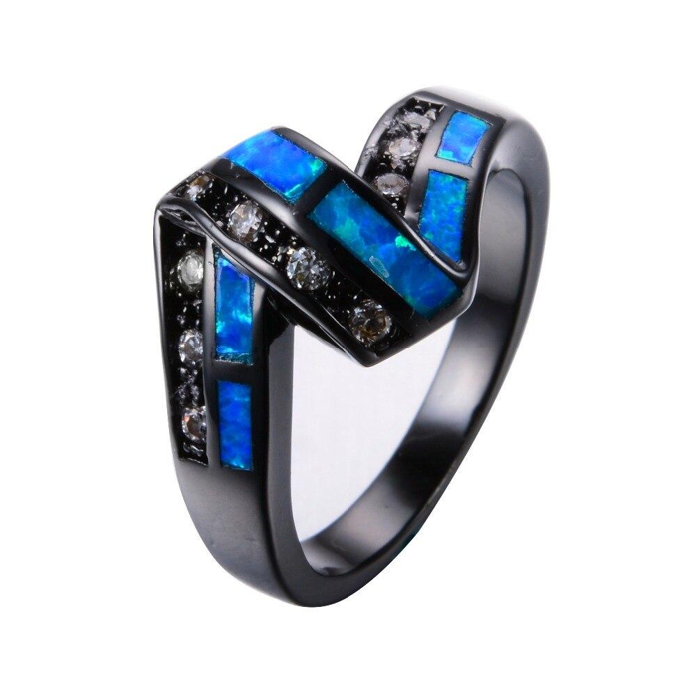 Unique Design Twist Blue Fire Opal Rings For Women Men