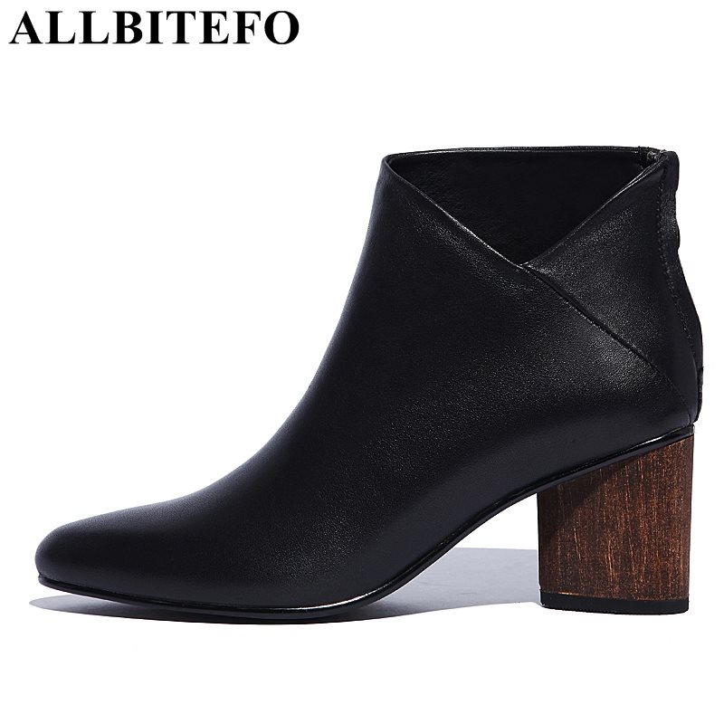 ALLBITEFO new arrive genuine leather pointed toe medium heel women boots thick heel hiagh quality winter boots girls boots pair of trendy filigree rose gold rhinestone leaf fringe earrings for women