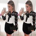 Mujeres Sexy de encaje delgado vestido con cuello en v lápiz Fit Mini vestido ventas calientes sml XL