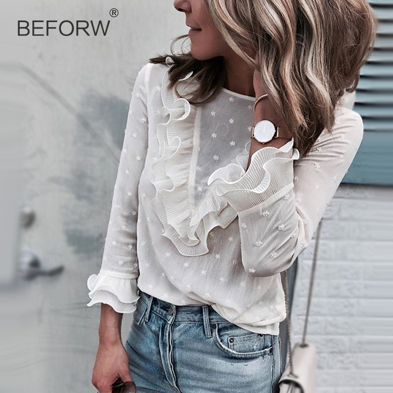 f7b5c981b7b8 BEFORW Fashion Polka Dot Women Tops And Blouses Butterfly Sleeve Ruffles  White Blouse Sexy Perspective Clothes