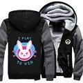 Eua tamanho ow d. va casaco de inverno com capuz zipper fleece unisex engrosse jacket clothing