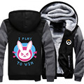 USA size OW D.Va Coat Zipper Hoodie Winter Fleece Unisex Thicken Jacket Clothing