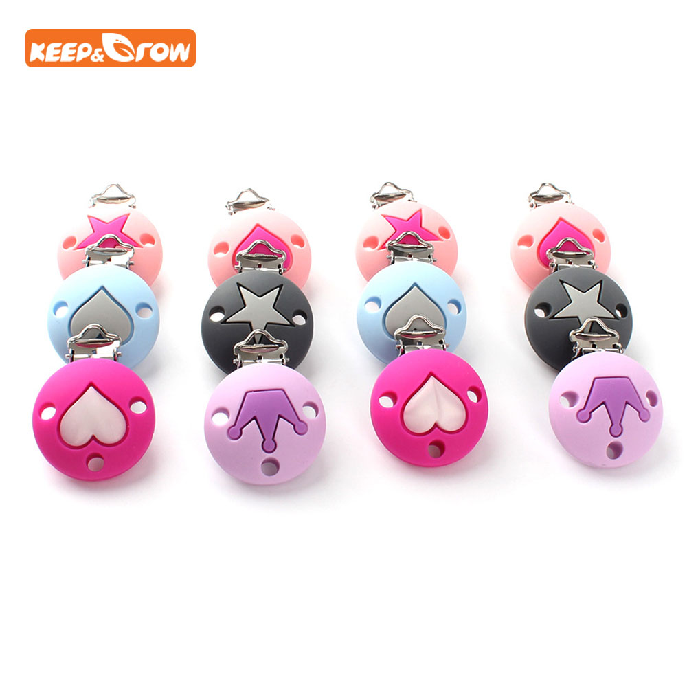 Keep&grow 10Pc Heart Crown Star Pattern Silicone Pacifier Clips Baby Teething Nipple Holder BPA Free Nursing Pacifier Chain Clip