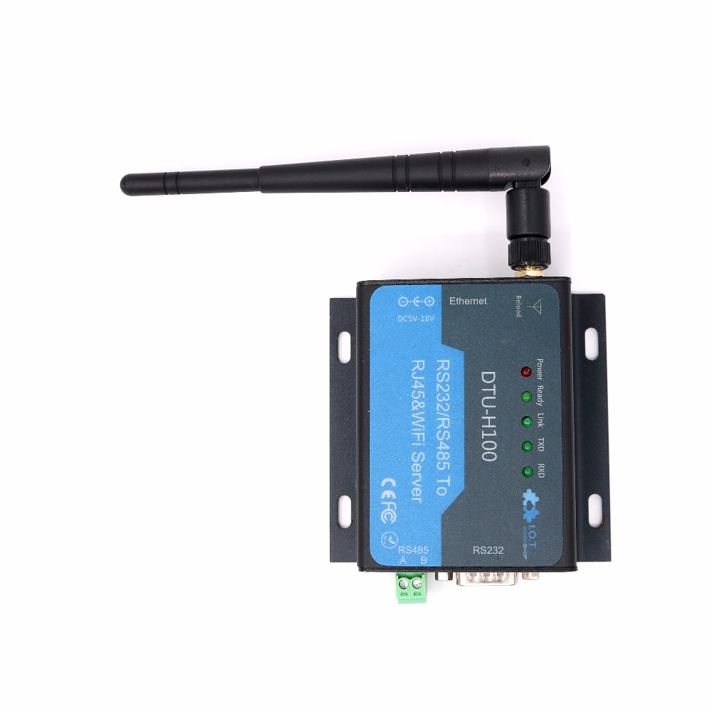 DTU H100 Rs232 Rs485 go to TCP/IP Wifi Converter Wireless serial server dtu rs232 rs485 go to ethernet server rj45 converter tcp ip 10 100 ethernet