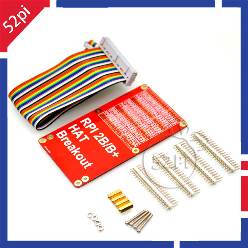 52Pi Raspberry Pi 2 / 3 Model B HAT Breakout Shield DIY GPIO Expansion Board With 40P Rainbow Cable Kit