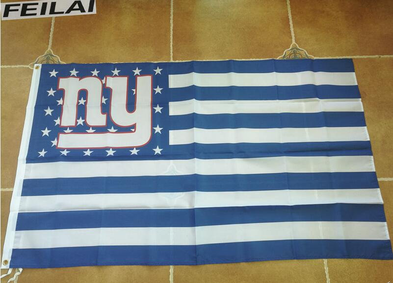 3x5ft New York Giants NFL Football USA flag stripes flag banner Free shipping polyester 100D
