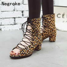 Sexy Leopard Print Women Sandals 2019 Design High-top Chunky Low Heel Gladiator High Heels Lace-up Summer Boots Plus Size 34-43 plus mixed print high low tee