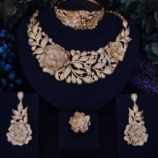 Luxury Leaf Rose Flower Cubic Zirconia Necklace