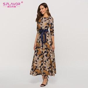 Image 2 - S.風味の女性の古典的なレトロカジュアルロングドレス 2020 夏のファッションランタンスリーブ o ネックドレス女性のための vestidos