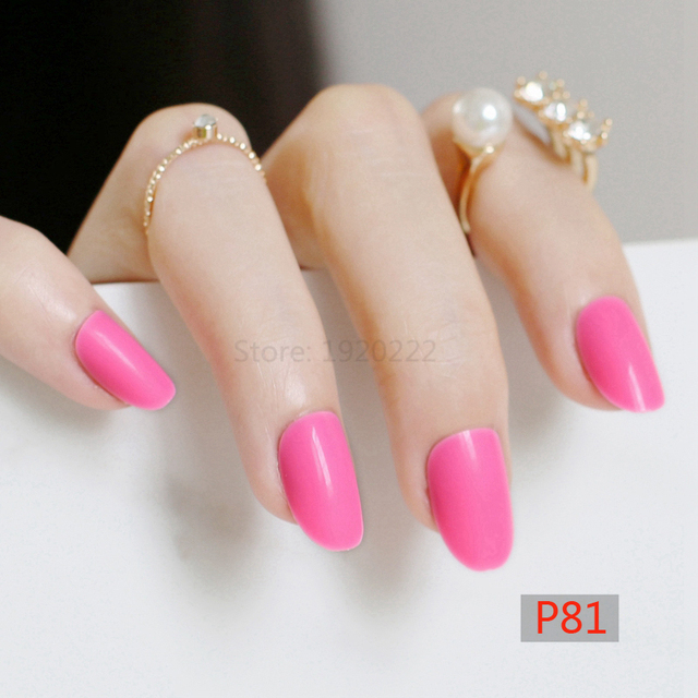 24pcs new Adorable fashion candy oval decorative fake nails long ...