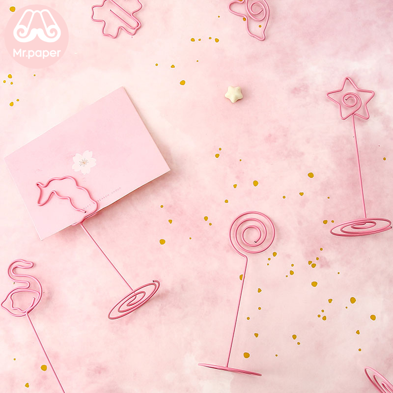 Mr Paper Kawaii Ins Style Pink Flamingo Unicorn Cactus Swan Heart Star Memo Clip Memo Pad Photo Holder Standing Memo Clips