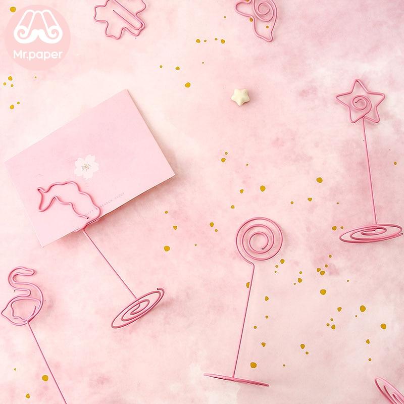 Mr Paper Kawaii Ins Style Pink Flamingo Unicorn Cactus Swan Heart Star Memo Clip Memo Pad Photo Holder Standing Memo Clips