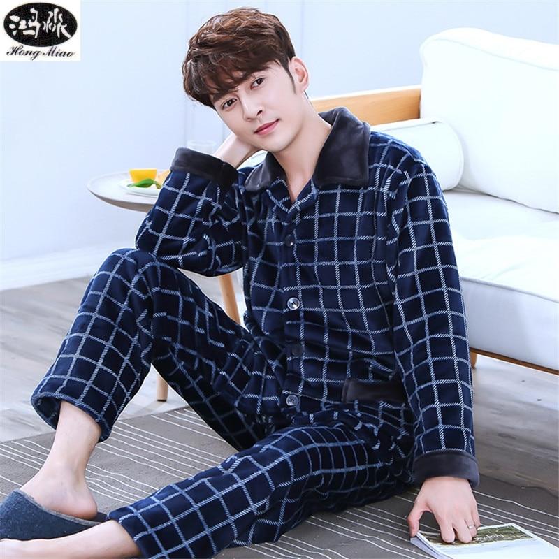 2018 Autumn Winter New Men Pajamas Suit Cardigan Blue And White Plaid Thick Flannel Pajamas Boutique Suit Pajamas