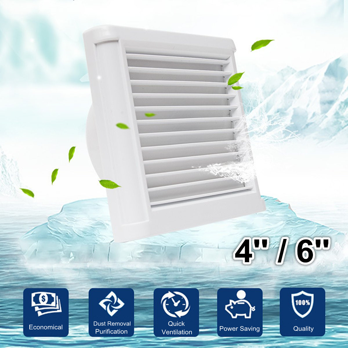 4Inch 6 Inch Waterproof Mute Bathroom Extractor Exhaust Fan Ventilating Strong Fan For Kitchen Toilet Window Ventilation Fans