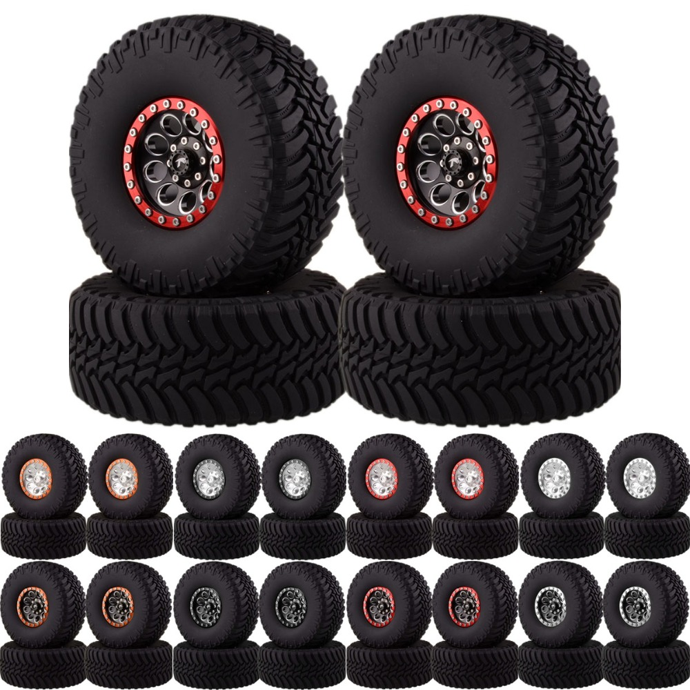 2.2 Beadlock Wheels & Tires 2020-3033 For 1/10 Crawler AXIAL Traxxas Tamiya HPI mxfans rc 1 10 2 2 crawler car inflatable tires black alloy beadlock pack of 4