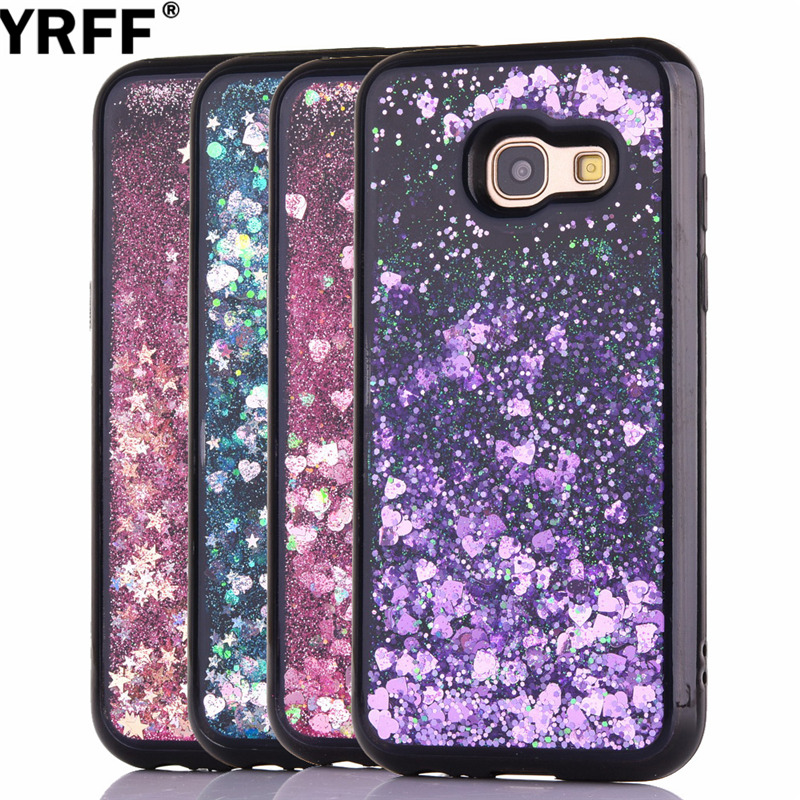 YRFF Bling Stars Sequins Black Frame Liquid Quicksand case for samsung galaxy J5 2017 fundas for samsung J7 2017 cover