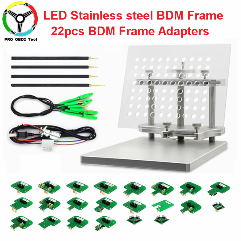 все цены на New Stainless Steel LED BDM Frame Metal Acrylic Board 4 Probe Pens Full 22PCS BDM Adapters For KESS KTAG FGTECH ECU Programmer