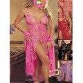 2016 Caliente Más El Tamaño mujeres Sexy erotic lingerie Pink pijamas del camisón de la largo vestido de bata