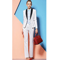 New Elegant Custom Made White Formal Women Pants Suits For Office Ladies Long Sleeve Professional Uniforms