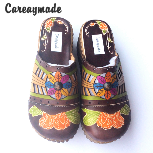 Careaymade-Folk style Head layer cowhide pure handmade Carved shoes, the retro art mori girl shoes,Women's casual Sandals958-21 careaymade new 2017 summer head layer cowhide pure handmade shoes the retro art mori girl flat singles shoes ivory white&green