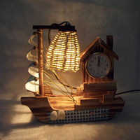 Sailboat woodiness lamp Clock with a clock Originality Bedroom decorate Romantic ornament Exquisite handicrafts