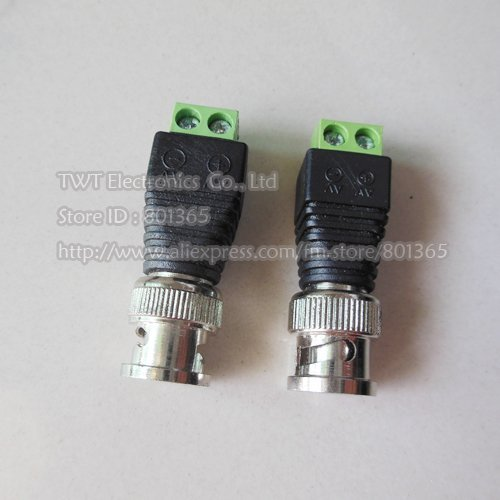20 pcs BNC Male Plug To Terminal Block , Coax CAT5 To Camera CCTV BNC Video Balun Connector,Free shipping